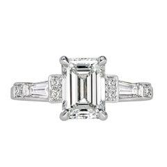 Mark Broumand 2.49 Carat Emerald Cut Diamond Engagement Ring