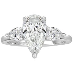 Mark Broumand 2.62 Carat Pear Shaped Diamond Engagement Ring