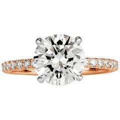 Mark Broumand 2.64 Carat Round Brilliant Cut Diamond Engagement Ring