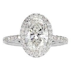 Mark Broumand 2.66 Carat Oval Cut Diamond Engagement Ring