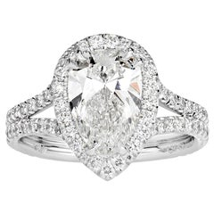 Mark Broumand 2.71 Carat Pear Shaped Diamond Engagement Ring