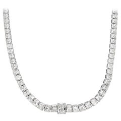 Mark Broumand 28.56 Carat Radiant Cut Diamond Tennis Necklace in 18 Karat Gold