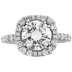 Mark Broumand 3.11 Carat Round Brilliant Cut Diamond Engagement Ring