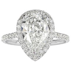 Mark Broumand 3.12 Carat Pear Shaped Diamond Engagement Ring