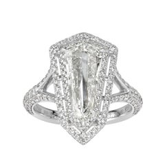 Mark Broumand 3.13 Carat Shield Cut Diamond Engagement Ring