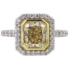 Mark Broumand 3.27 Carat Fancy Yellow Radiant Cut Diamond Engagement Ring