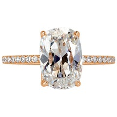 Mark Broumand 3.31 Carat Old Mine Cut Diamond Engagement Ring