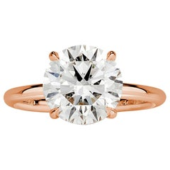 Mark Broumand 3.31 Carat Round Brilliant Cut Diamond Engagement Ring