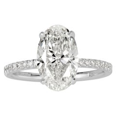 Mark Broumand 3.34 Carat Oval Cut Diamond Engagement Ring