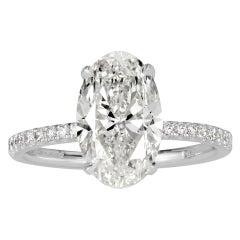 Mark Broumand 3.34 Carat Oval Cut Diamond Engagement Ring