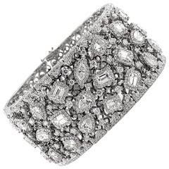 Mark Broumand 34.17 Carat Fancy Shape Diamond Cuff Bracelet