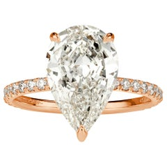 Mark Broumand 3.49 Carat Pear Shaped Diamond Engagement Ring