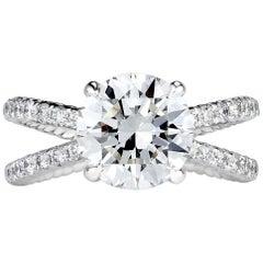 Mark Broumand 3.55 Carat Round Brilliant Cut Diamond Engagement Ring