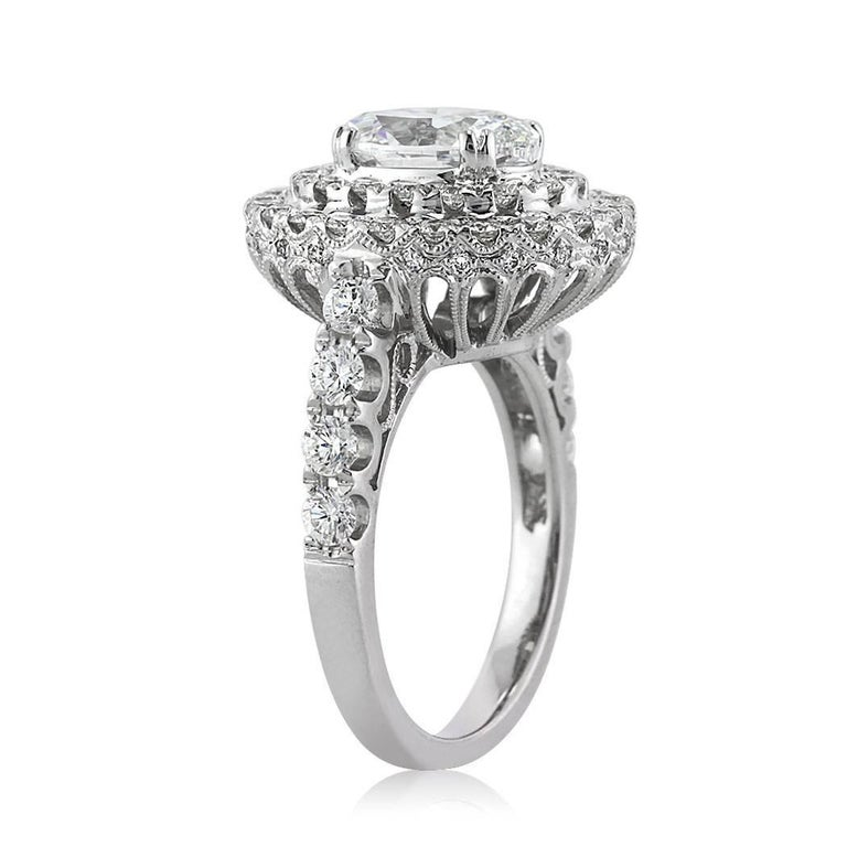 Modern Mark Broumand 3.56 Carat Oval Cut Diamond Engagement Ring For Sale