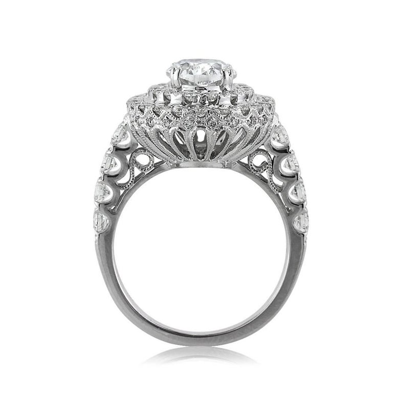 Mark Broumand 3.56 Carat Oval Cut Diamond Engagement Ring In New Condition For Sale In Los Angeles, CA
