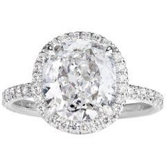 Mark Broumand 3.57 Carat Old Mine Cut Diamond Engagement Ring