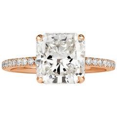 Mark Broumand 3.58 Carat Radiant Cut Diamond Engagement Ring