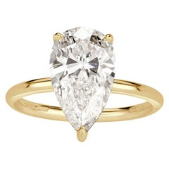 Mark Broumand 3.64 Carat Pear Shaped Diamond Engagement Ring