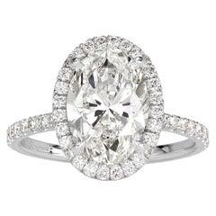 Mark Broumand 3.65 Carat Oval Cut Diamond Engagement Ring