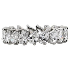 Mark Broumand 3.65 Carat Pear Shaped Diamond Eternity Band in 18 Karat Gold