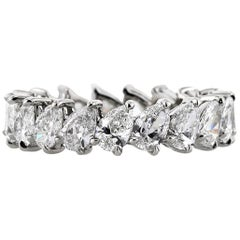 Mark Broumand 3.65 Carat Pear Shaped Diamond Eternity Band in Platinum