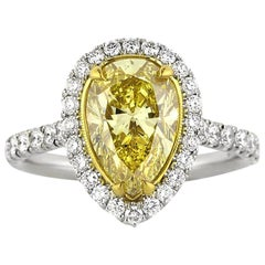 Mark Broumand 3.65ct Fancy Intense Yellow Pear Shaped Diamond Engagement Ring
