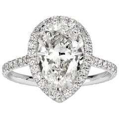 Mark Broumand 3.72 Carat Pear Shaped Diamond Engagement Ring