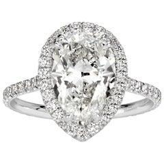 Mark Broumand 3.72 Carat Pear Shaped Diamond Engagement Ring