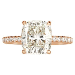 Mark Broumand 3.73 Carat Cushion Cut Diamond Engagement Ring