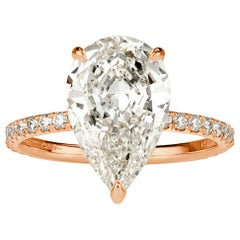 Mark Broumand 3.99 Carat Pear Shaped Diamond Engagement Ring