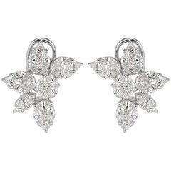 Mark Broumand 4.00 Carat Floral Cluster Diamond Earrings