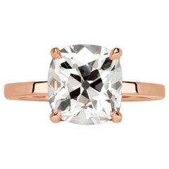 Mark Broumand 4.07 Carat Old Mine Cut Diamond Engagement Ring