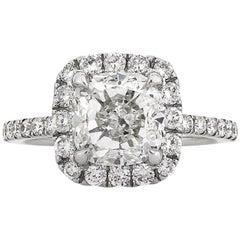 Mark Broumand 4.11 Carat Cushion Cut Diamond Engagement Ring