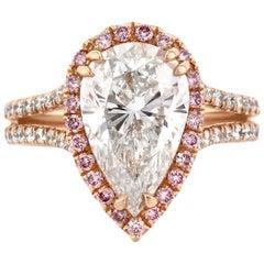 Mark Broumand 4.11 Carat Pear Shaped Diamond Engagement Ring