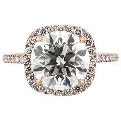 Mark Broumand 4.13 Carat Round Brilliant Cut Diamond Engagement Ring