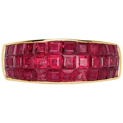Mark Broumand 4.20 Carat Square Cut Ruby Vintage Ring