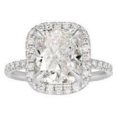 Mark Broumand 4.32 Carat Cushion Cut Diamond Engagement Ring