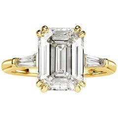 Mark Broumand 4.35 Carat Emerald Cut Diamond Engagement Ring