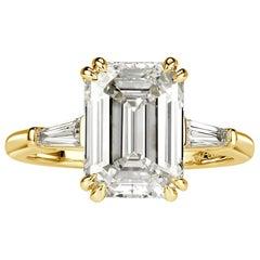 Mark Broumand 4.36 Carat Emerald Cut Diamond Engagement Ring