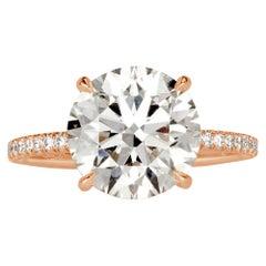 Mark Broumand 4.41 Carat Round Brilliant Cut Diamond Engagement Ring