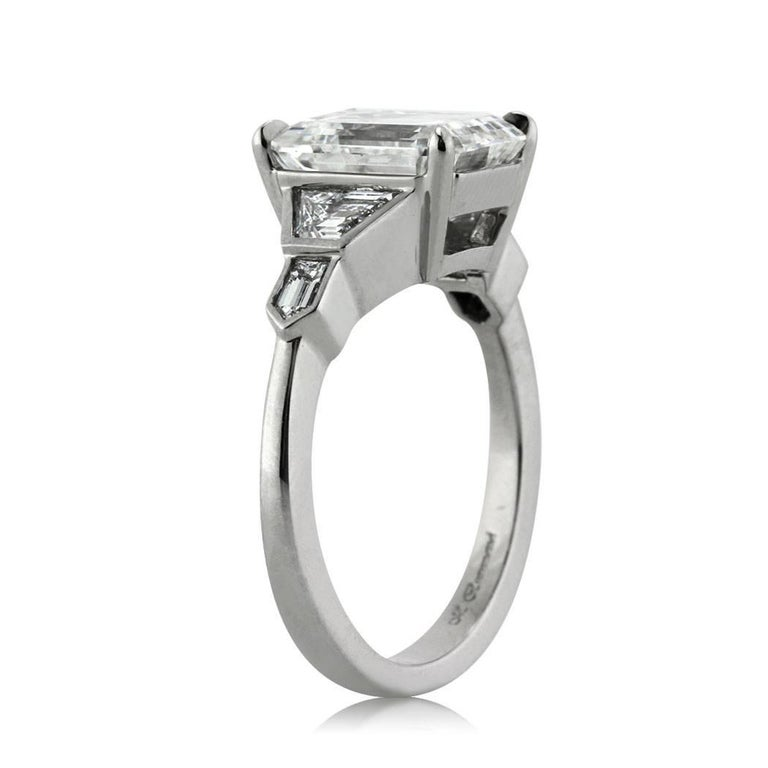Modern Mark Broumand 4.48 Carat Emerald Cut Diamond Engagement Ring For Sale