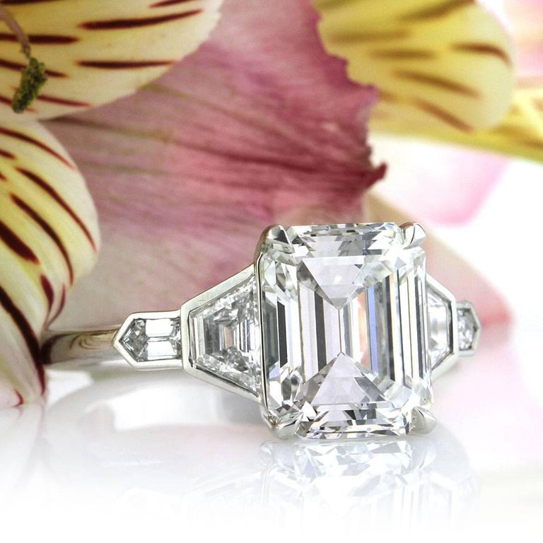 Women's or Men's Mark Broumand 4.48 Carat Emerald Cut Diamond Engagement Ring For Sale
