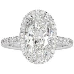 Mark Broumand 4.61 Carat Oval Cut Diamond Engagement Ring