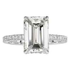 Mark Broumand 4.69 Carat Emerald Cut Diamond Engagement Ring