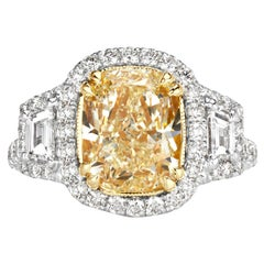 Mark Broumand 4.83 Carat Fancy Light Yellow Cushion Cut Diamond Engagement Ring