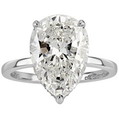 Mark Broumand 4.90 Carat Pear Shaped Diamond Engagement Ring