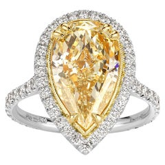 Mark Broumand 4.94 Carat Fancy Light Yellow Pear Shaped Diamond Ring
