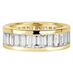 Mark Broumand 4.97 Carat Baguette Cut Diamond Eternity Band in 18 Karat Gold