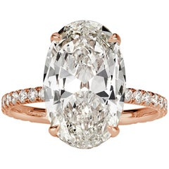 Mark Broumand 5.06 Carat Oval Cut Diamond Engagement Ring