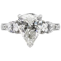 Mark Broumand 5.14 Carat Pear Shaped Diamond Engagement Ring
